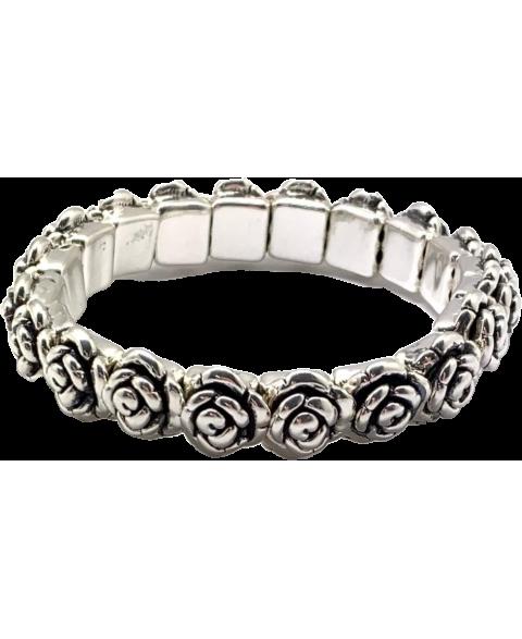 Brazalete de plata rosas